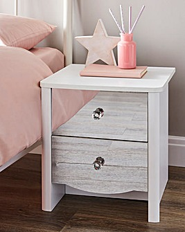 Amelia Children's Mirrored Front 2 Drawer Bedside Table