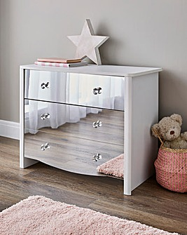 Amelia Children's Mirrored Front 3 Drawer Chest
