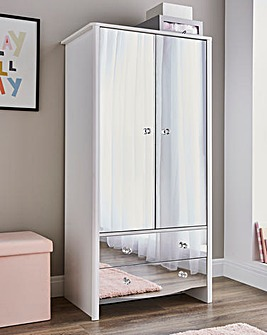 Amelia Children's Mirrored Front 2 Door 2 Drawer Wardrobe