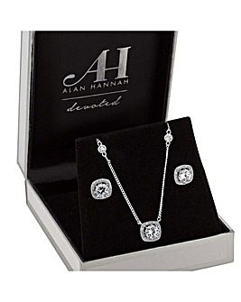 Alan Hannah Square Halo Jewellery Set