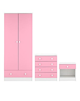 Florida 3 Piece Bedroom Set(1 Drawer Side, 4 Drawer Chest, 2 Door 1 Drawer Robe)