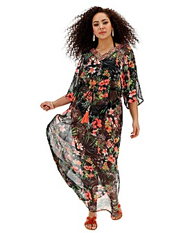 Joanna Hope Neon Print Kaftan Maxi Dress