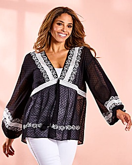Joanna Hope Mono Embroidered Folk Top