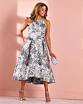 Joanna Hope Jacquard Dip Hem Prom Dress