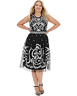 Joanna Hope Embroidered Fit N Flare Dress