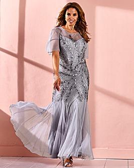 Joanna Hope Feather Beaded Maxi Dress
