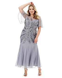 Joanna Hope Feather Beaded Maxi Dress