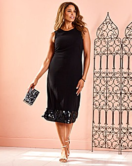 Joanna Hope Sequin Hem Midi Dress