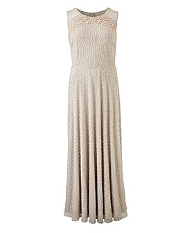Joanna Hope Pearl Trim Maxi Dress
