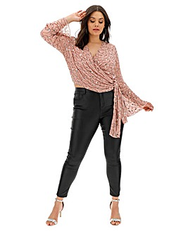 Joanna Hope Beaded Wrap Blouse
