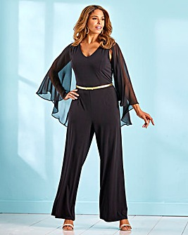 Joanna Hope Black Cape Overlay Jumpsuit