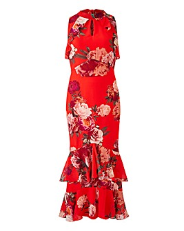Joanna Hope Red Print Frill Maxi Dress