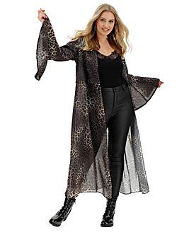 Joanna Hope Leopard Print Longline Jacket