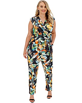 Joanna Hope Print Stretch Satin Jumpsuit