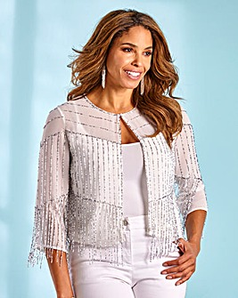 Joanna Hope Beaded Fringe Flapper Jacket