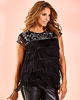 Joanna Hope Fringe Beaded Flapper Top