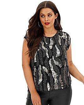 Joanna Hope Sequin Front Blouse