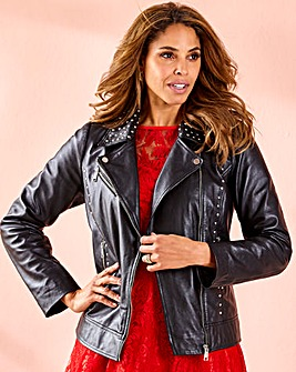 Joanna Hope Stud Leather Biker Jacket