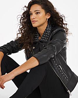 Joanna Hope Stud Leather Biker Jacket
