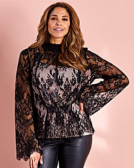 Joanna Hope Black Lace Top with Camisole