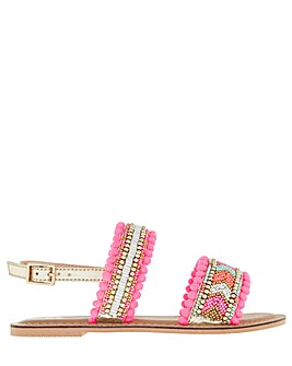 Accessorize Santorini Beaded Pom Sandal