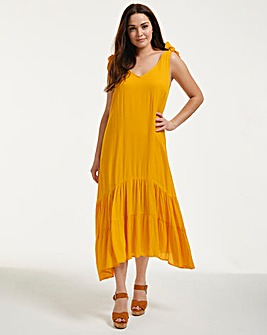 Cannes Trapeze Midi Dress With Tie Shoulders