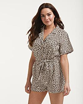 Figleaves Serengeti Leopard Print Button Down Shirt Playsuit
