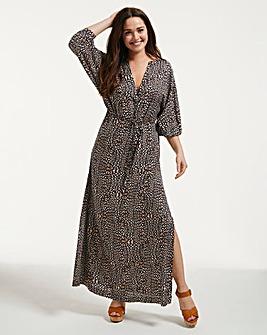 Figleaves Mala Leopard Print Maxi Shirt Dress