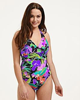 Figleaves Santa Monica Underwired Plunge Halter Tummy Control Swimsuit D-GG