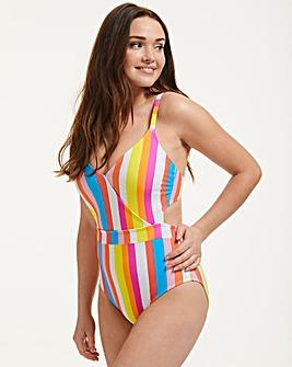 Figleaves Malibu Stripe Underwired Cut Out Tummy Control Swimsuit C-GG