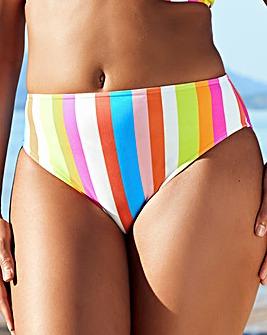 Figleaves Malibu Stripe Underwired Plunge Frill Bikini Top D-GG