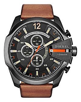 DIESEL Mens Mega Chief Brown Leather Strap Watch