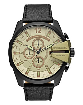 DIESEL Mega Chief Leather Strap Watch