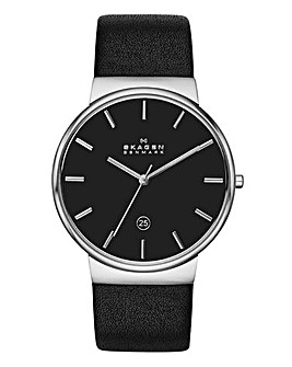 Skagen Mens Ancher Black Leather Strap Watch