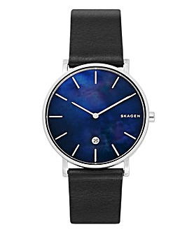 Skagen Mens Hagen Black Leather Strap Watch