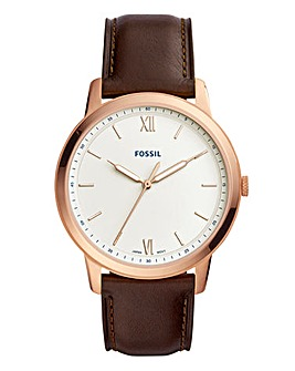 Fossil Mens The Minimalist Brown Leather Strap Watch