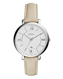 Fossil Ladies Jacqueline Cream Leather Strap Watch