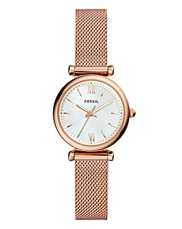 Fossil Ladies Carlie Rose Gold Mesh Bracelet