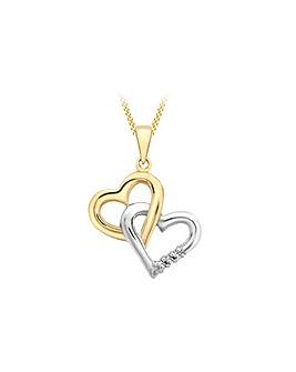 9Ct Gold 2 Colour Heart Diamond Necklace