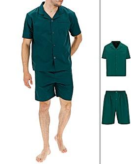 Forestgreen Short Sleeve Plain PJ Set