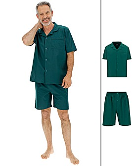 Forest Green Short Sleeve Plain PJ Set