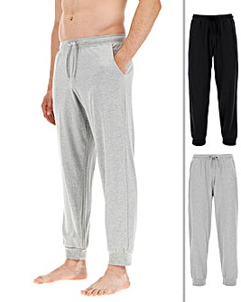 Pack of 2 Black/Grey Cuffed Loungepants