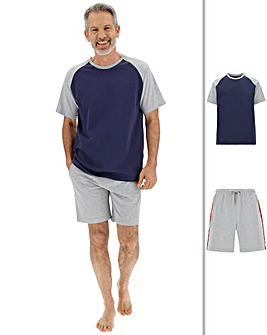 Grey/Navy Taped Raglan Short PJ Set