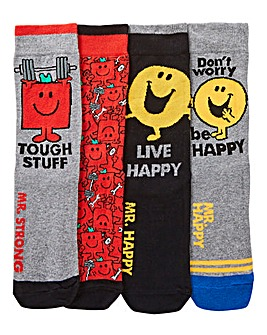 Mr Men Mr Happy & Mr Strong 4 Pack Socks