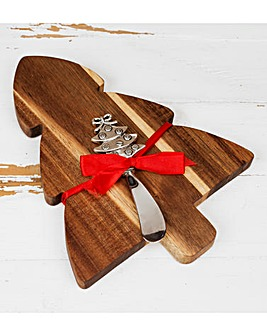 Wooden Christmas Tree Cheeseboard Set