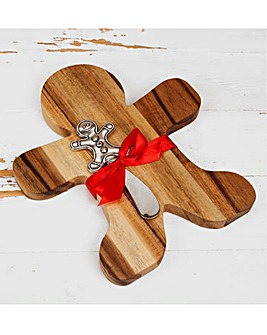 Wooden Gingerbread Man Cheeseboard Set