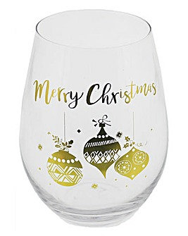 Stemless Wine Glass Holiday Sparkle