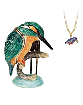 Kingfisher Trinket Box with Necklace