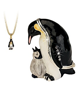 Penguin Trinket Box with Necklace