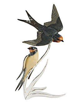 Silver Plated Swallow Pair Ornament